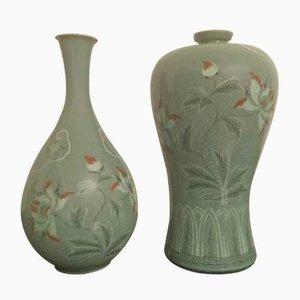 Jarrones Corea de porcelana, años 60. Juego de 2