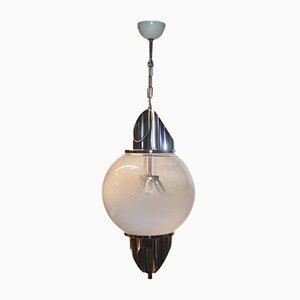 Lámpara de techo de metal cromado y cristal de Murano de Selenova, años 70