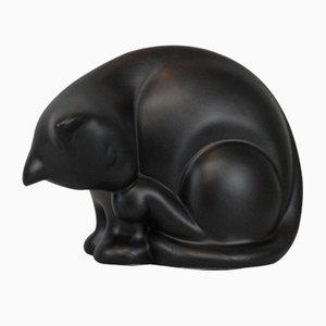Statuetta a forma di gatto in ceramica smaltata, anni '50