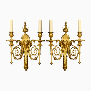 Antique French Gilded Wall LIghts, Set of 2