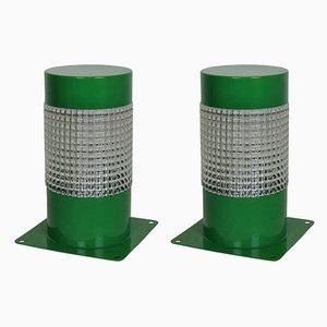 Lámparas de mesa francesas de metal verde de Lita para Lita, años 60. Juego de 2