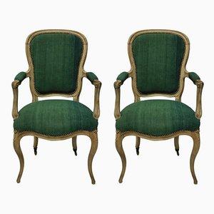 Antike Armlehnstühle aus grünem Leinen & Holz, 2er Set