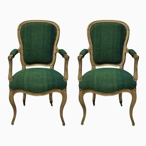Antique Green Linen and Wood Armchairs, Set of 2