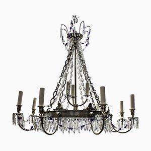 Lámpara de araña rusa antigua plateada de vidrio azul y plateado
