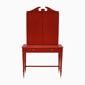 Mueble de palisandro rojo lacado de Paolo Buffa, años 50