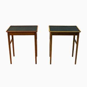 Tables d'Appoint en Cuir de Bodafors, 1950s, Set de 2