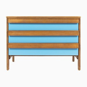 Blue Lacquer and Beech Cabinet by André Sornay, 1960s