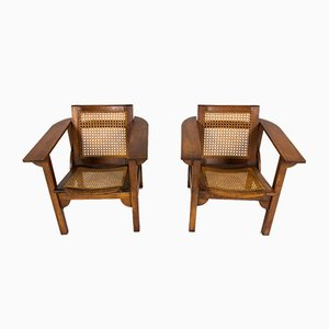 Walnut and Cane Model Hendaya Lounge Chairs by Pierre Dariel, 1930s, Set of 2