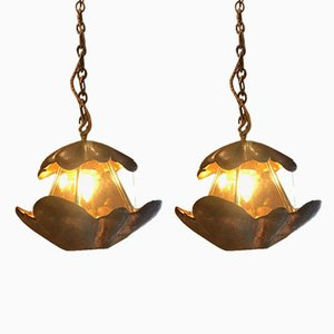 Mid-Century Copper Ceiling Lamps, Set of 2