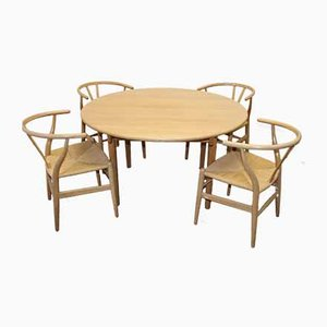 Oak Dining Table & Chairs Set by Hans J Wegner for Carl Hansen & Søn, 1960s
