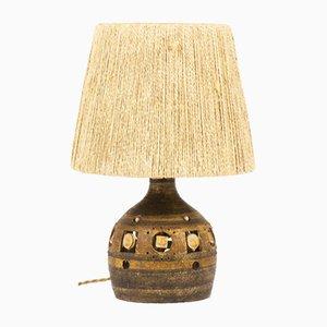 Braune Tischlampe aus Keramik mit Lampenschirm aus Seil von Georges Pelletier, 1960er