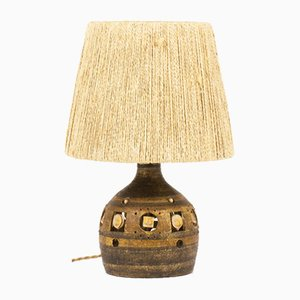 Brown Ceramic and Rope Table Lamp by Georges Pelletier, 1960s