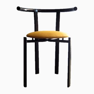 Lacquered Metal and Fabric Dining Chair, 1980s