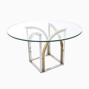 Esstisch aus Glas, Messing & Stahl, 1970er