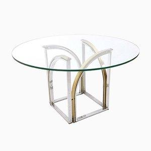 Tavolo da pranzo in vetro, ottone e acciaio, anni '70