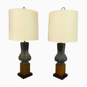 Lampes de Bureau en Céramique et Teck, 1960s, Set de 2