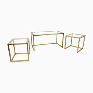 Italian Brass, Steel, and Glass Nesting Tables by Romeo Rega, 1970s