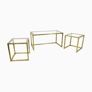 Tavolini ad incastro in ottone, acciaio e vetro di Romeo Rega, Italia, anni '70