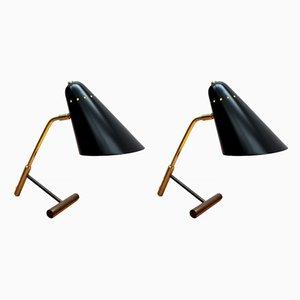 Lampes de Bureau en Laiton, Italie, 1950s, Set de 2