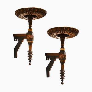 Antique Decorative Wall Shelves by Carlo Bugatti for Bugatti, Set of 2