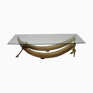 Table Basse avec Fausses Défenses en Bronze Doré par S. T. Valenti, 1970s