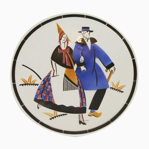 Art Deco Ceramic Plate from K et G, 1930s