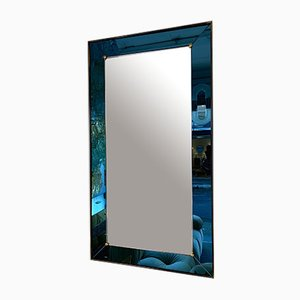 Italian Blue and Brass Mirror by Cristal Art, 1960s