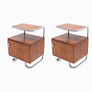 Functionalist Chrome Nightstands by Rudolf Vichr for Vichr & Spol, 1930s, Set of 2