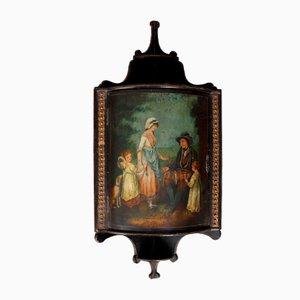 Mueble esquinero pintado y de madera ennegrecida, siglo XIX