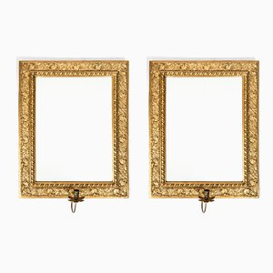 Antique Bronze Plated Mirrors with Candleholders, Set of 2