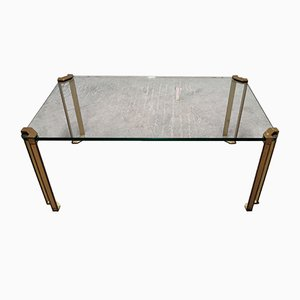 Glass and Cast Bronze Coffee Table by Peter Ghyczy, 1970s