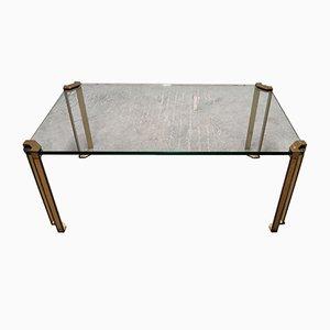 Mesa de centro de vidrio y bronce fundido de Peter Ghyczy, años 70