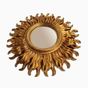 Gilded Wooden Sunburst Mirror, 1960s
