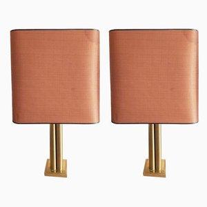 Lámparas de mesa de latón de Belgo Chrom / Dewulf Selection, años 70. Juego de 2
