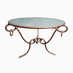 Tavolino da caffè in ferro battuto di René Drouet, anni '40