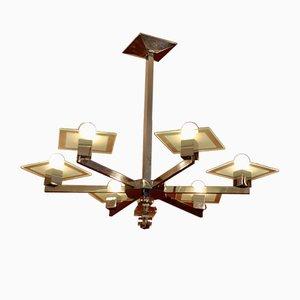 Lámpara de techo Art Déco de vidrio con seis brazos de Jacques Adnet, años 30