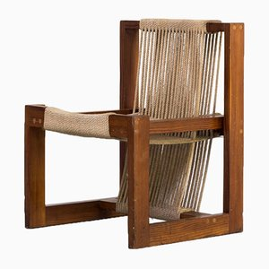 Rope and Pine Wood Dining Chair, 1950s