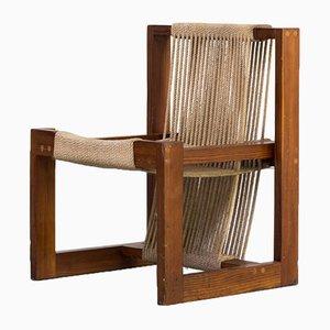 Silla de comedor de madera de pino y cuerda, años 50
