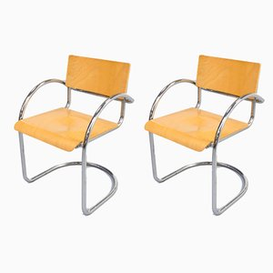 Bent Metal Armchairs, 1970s, Set of 2