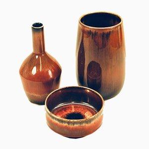 Vases par Carl-Harry Stålhane pour Rörstrand, années 50, Set de 3