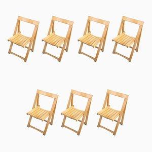 Chaises Pliantes par Aldo Jacober pour Alberto Bazzini, années 60, Set de 7