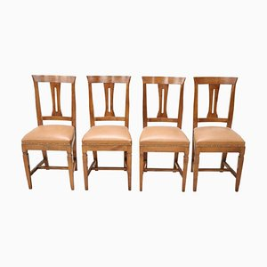 Vintage Walnut Dining Chairs, 1950s, Set of 4