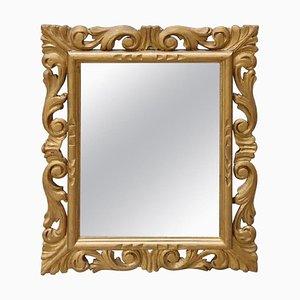 Espejo de pared vintage de madera dorada, años 30