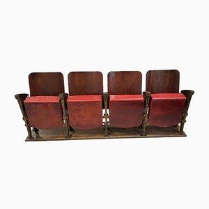 Panca da teatro a quattro posti vintage