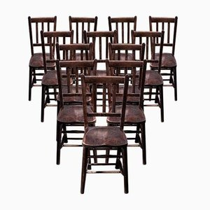Dark Elm Dining Chairs, 1920s, Set of 12