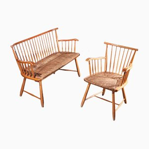 Beech and Rush Bench and Chair by Arno Lambrecht for WK Mobel, 1950s, Set of 2
