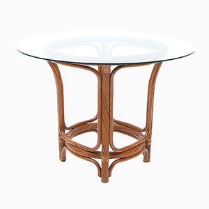 Vintage Twisted Rattan Hollywood Regency Dining Table