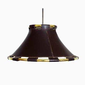 Lámpara de techo de cuero y latón, años 80