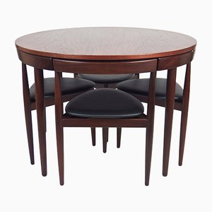 Round Dining Table & Chairs Set by Hans Olsen for Frem Røjle, 1950s, Set of 5
