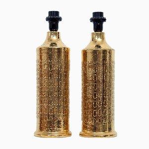 Tischlampen aus gold glasierter Keramik von Aldo Tura für Bitossi, 1970er, 2er Set